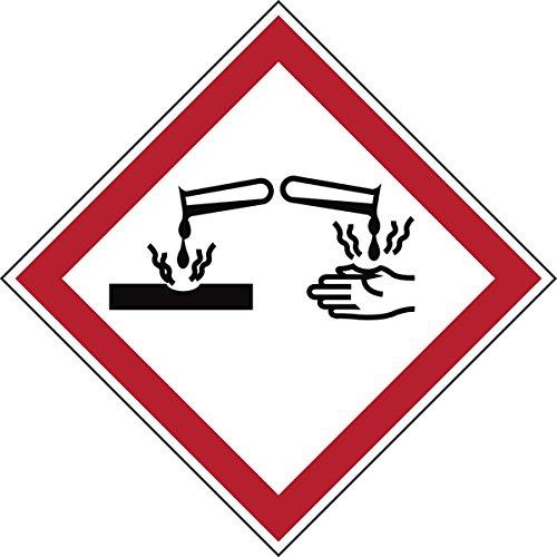 """Brady 811717 di sostanze pericolose in poliestere laminato, GHS """"corrosivo, 70 mm x 70 mm, in cartoncino, 6 pezzi, colore: rosso/bianco su nero"""