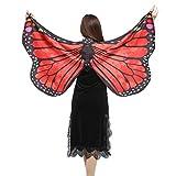 Schals Umschlagtücher Damen FEITONG Schmetterling Kostüm Tanzkleidung Frauen Weiche Gewebe Schmetterlings Flügel Schal feenhafte Damen Nymphe Pixie Cosplay Kostüm Zusatz (Größe:147*70cm, 1-Red)