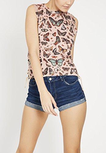 Khujo T-Shirt de Sport - Imprimé - sans Manche - Femme Imprimé rose