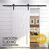 Popamazing Eisenwaren-Bausatz für Holzschiebetüren, schwarz, 1,83 m lange Laufschiene, für einen Holztürflügel