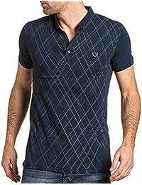 BLZ jeans - Polo homme bleu navy quadrillé