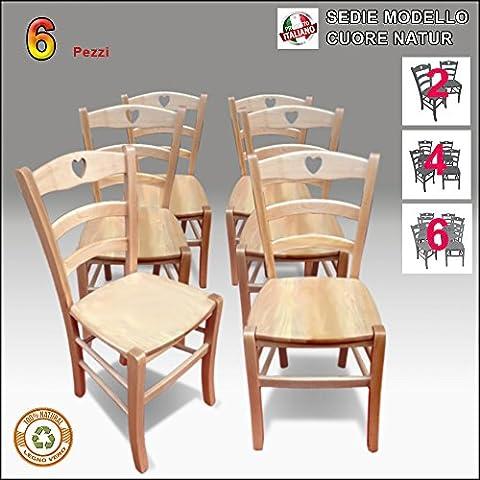 Sedia in legno, naturale, Stile Shabby Chic, Country, Mod.Cuore (6 sedie) - Cuore Bar