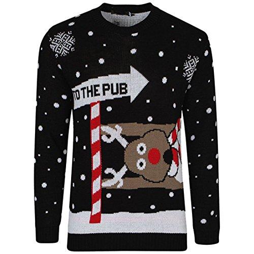 Renne de Noël tricoté de Noël de nouveauté de mens, au pull de pub taille S-2XL noir rouge (3D Pom Pom Black, Medium)