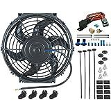 """American V 10""""Inch eléctrico ventilador 12V Radiador de refrigeración & 3/8"""" NPT thread-in termostato Kit"""