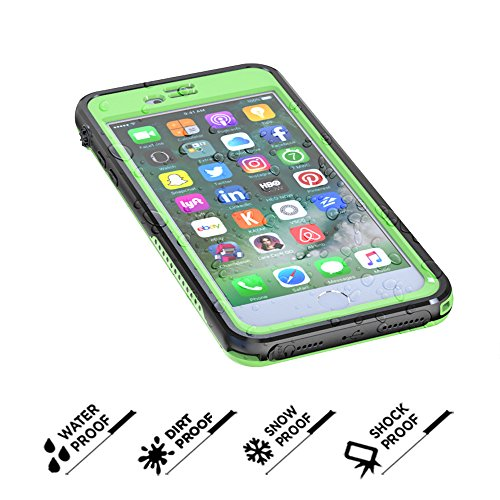 iPhone 6 Plus Impermeabile Case, Ultra Sottile Difensore Custodia Full Body Protettiva Caso Underwater / Shockproof / Dustproof / Dirtproof Finger Tough e Headphone plug Bumper Cover per iPhone 6 Plus Erba Verde,