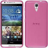 Funda de silicona para HTC Desire 620 - transparente rosa - Cover PhoneNatic Cubierta + protector de pantalla