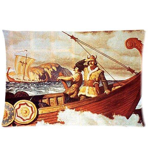 Vintage Viking Dragon Head Ship background comfortable Cotton & Polyester Pillowcase/Pillow slip/Cushion case/Pillow cover (Two Side Printing, 76,2x 50,8cm)