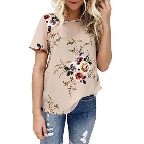 Subfamily Damen Sommer Casual Hemd Bluse Kurzarmshirt Damen V-Neck T-Shirt Loose Shirt Tops Unregelmäßige Saum (S, Khaki) (Lieblings-khaki)