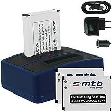 3x Baterías + Cargador doble (USB/Coche/Corriente) para Samsung SLB-10A / Toshiba Camileo X-Sports / JVC Adixxion / Silvercrest / Medion Action Cam.. v. lista
