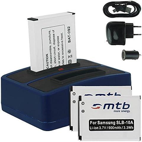 3x Baterías + Cargador doble (USB/Coche/Corriente) para Samsung SLB-10A / Toshiba Camileo X-Sports / JVC Adixxion / Silvercrest / Medion Action Cam.. v.