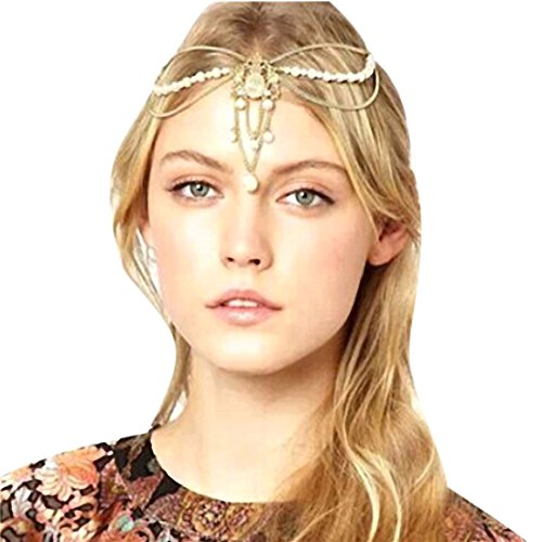Atdoshop Fashion Women Metal Chain Jewelry Headband Head Hair Band Tassels Pearl