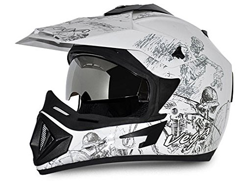 Vega OffOR-D/V-SKT-WS_M Road Sketch Full Face Graphic Helmet (White and Silver, M)