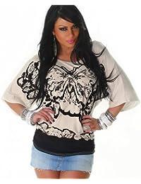 Jela Londen Mesdames shirt Top chauve-souris sequins taille unique. 36,38,40,42 - différentes couleurs