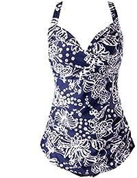 Surenow Mujer Bañador de Una Pieza Trajes de Baño Bikini de Flor Retro para Playa