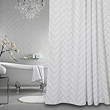 Aimjerry Hotel Quality White Striped Mold Resistant Fabric Shower Curtain For BathroomWater Repellent 72 X Inch