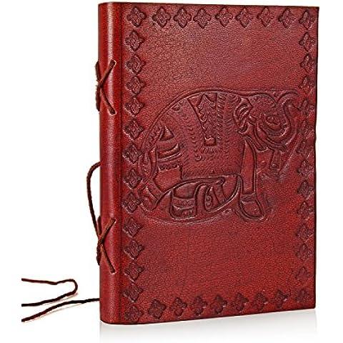 Día de madres regalos Planificador de cuero Diario de viaje con cierre de hilo de algodón del diseño del elefante en