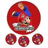 Tortenaufleger Geburtstag Tortenbild Zuckerbild Oblate Motiv: Super Mario 02 (Zuckerpapier)