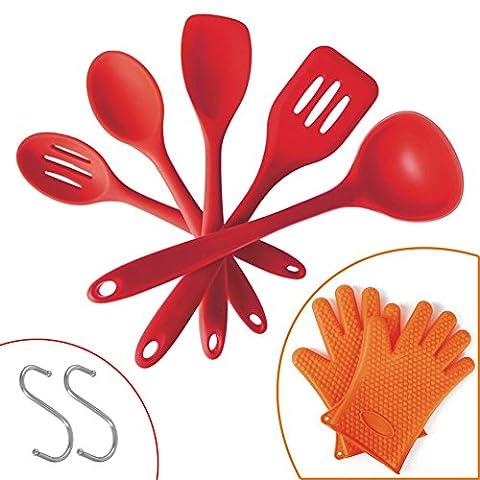 Lamaston Coque en silicone Ustensiles de Cuisine en silicone 5pièces de cuisine Ustensiles de cuisson pour durabilité supérieure, d'hygiène et de confort d'utilisation