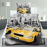 7dreams® Bettwäsche Microfaser Bezug 135x200cm Kissenbezug 80x80cm - New York Styles (Taxi) - mit Reißverschluss - waschbar bei 60° und trocknergeeignet - hautsympathisch und atmungsaktiv