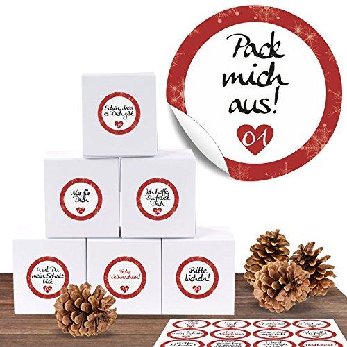"""24 Adventskalender Pappschachteln mit 24 weihnachtlichen Zahlenaufklebern """"Liebevolle Botschaften"""" Adventskalender zum Basteln und Befüllenzum Ver"""