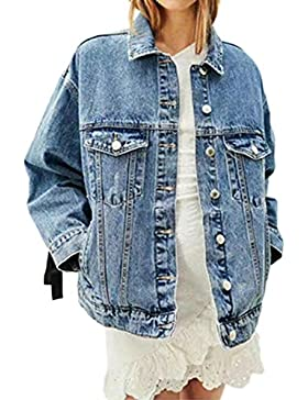 Le Donne Di Pizzo Vintage Dietro Giacca Di Jeans Oversize.