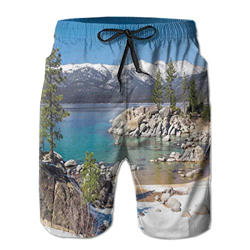 MIOMIOK Mens Beach Shorts Swim Trunks,Circle Lake Harbor Surrounded by Snowy Mountain Countryside Relax Treatment Photo,Summer Cool Quick Dry Board Shorts Bathing SuitXXL