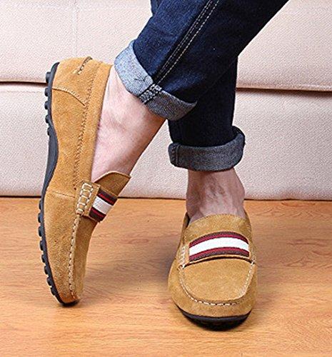 Hommes Chaussures Mocassins en Suédé avec Sangle Basse Plat Léger Respirent Semelle Antidérapant Loisir Loafers Jaune