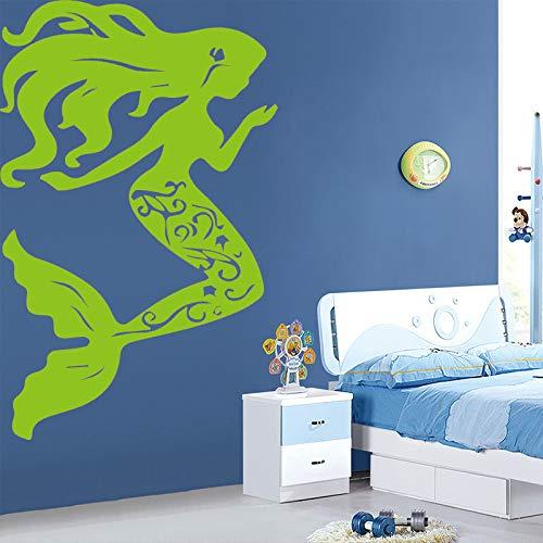 AiyoAiyo Schöne Kleine Meerjungfrau Wandaufkleber für Wohnkultur Wohnzimmer Mädchen Zubehör Wasserdichte Kunst Aufkleber Adesivos blau 43 cm X 68 cm