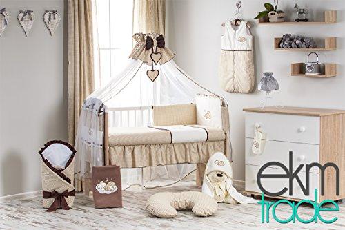 12 Teilig Babyzimmer Set: Sonoma Babyrbett 120x60 cm mit Bettwäsche und Schaum Matratze Gratis Himmel Gitterbett Kinderbett ekmTRADE (Braun)