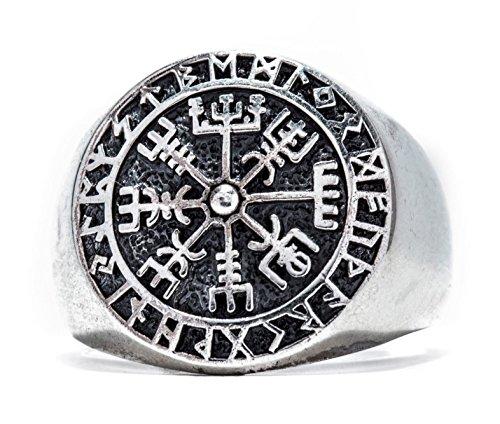 Windalf Runen Wikinger Ring VEGVESIR h: 1.8 cm Lebens Kompass Asatru 925 Sterlingsilber (Silber, 64 (20.4))