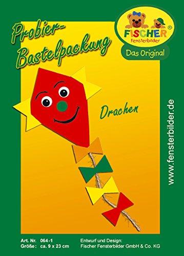 Fischer Fensterbild Probierbastelpackung DRACHEN / Kinder Bastelpackung / 9 x 23 cm / zum Selberbasteln / Basteln mit Papier und Pappe