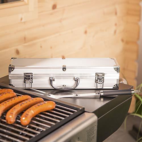 51EITWO9O3L - Bruzzzler Edelstahl Grillbesteck-Set 3-teilig im Koffer, Grillbesteck, BBQ Multi Grillbesteck, Grill Accessoire,, rutschfeste Griffe, stabile und solide Qualität, 11,7 x 8,5 x 38,8 cm