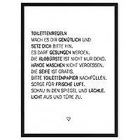 Toiletten-Regeln - Kunstdruck auf wunderbarem Hahnemühle Papier DIN A4 -ohne Rahmen- schwarz-weißes Bild Poster zur Deko im Büro / Wohnung / als Geschenk Mitbringsel... witzige WC Klo-Ordnung