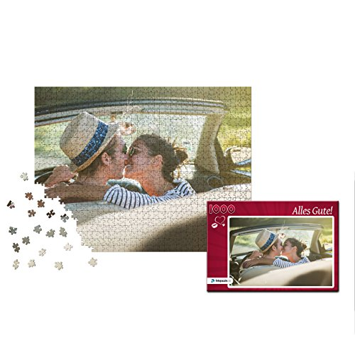 fotopuzzle.de Fotopuzzle 1000 Teile: Individuelles Puzzle mit eigenem Foto,, inkl. indiv. Puzzle-Schachtel (Rot Herzmuster) - Foto Puzzle