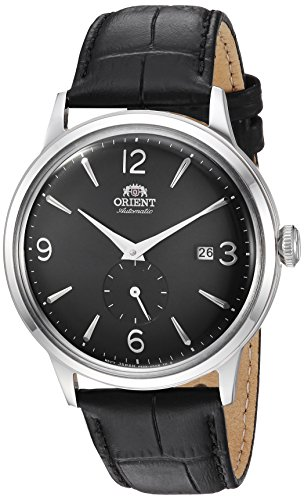 Orient Men's 'Bambino Small Seconds' Japanese Automatic Stainless Steel and Leather Dress Watch, Color Black (Model: RA-AP0005B10A)
