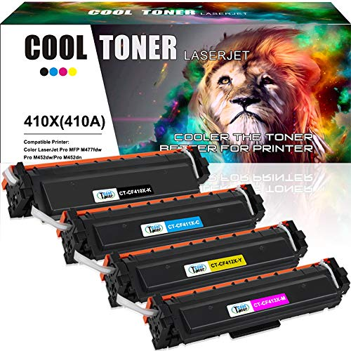 Cool Toner 4 Pack Kompatibel für HP CF410X CF411X CF412X CF413X Toner CF410A 410X 410A für HP Drucker Color Laserjet Pro M452 MFP M477 M 477 377 Toner HP MFP M477fdw M477fnw M477fdn M452dn M452dw -