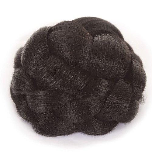 Chignon natte tressé noir | Attaché avec cordon, pinces et peignes