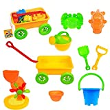 Fun Little Toys Children's Wagon Summer Beach Colorful Play Set with Sand Wheel