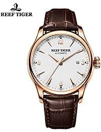 Reef tigre vestido reloj automático con fecha tono de oro rosa relojes con marrón piel rga823