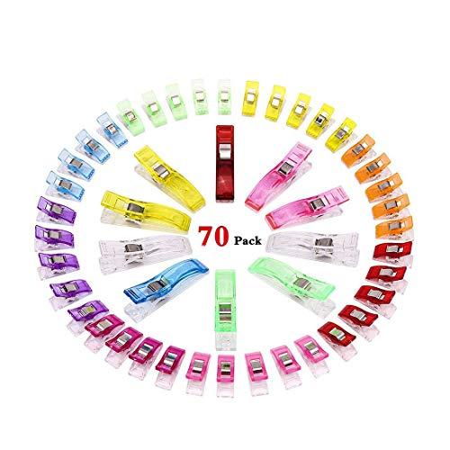 GeMoor 70 Stück Stoffklammern Näh klammern Nähen Klammer Kunststoff Wonder Clips schnellen 8 Farben Häkeln, Stoffklammern Set (60 klein+10 Groß)