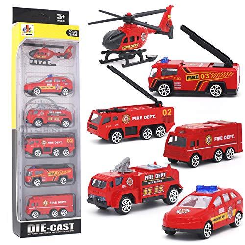 DESONG Spielzeugautos Feuerwehrauto Fahrzeuge Feuerwehrmann Spielzeug Set Mini Cars für Kinder ab 3 Jahren,6 Pcs