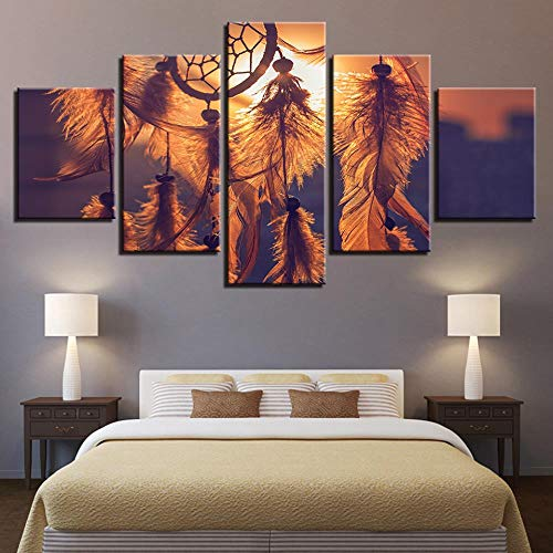 QIFUHUA Pinturas en Lienzo Arte de la Pared para la Sala de Estar Decoración del hogar 5 Piezas Puesta de Sol Atrapasueños Cuadros HD Plumas Marco de Carteles, Marco, 40x60 40x80 40x100cm
