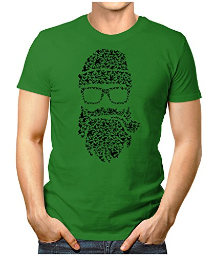 PRILANO Herren Fun T-Shirt - BIRDS-BEARD - Small bis 5XL - NEU Grün