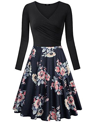 Formales Kleid, Lotusmile Vintage In Falten gelegt V-Ausschnitt Schwingendes Kleid Langarm Slim Fit Elegant Baumwolle Kleid, MBK XL Kleider Für Damen Formale