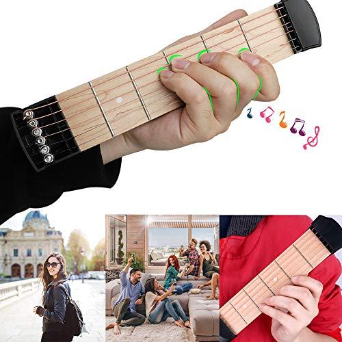 JoyFan Mini Wooden Pocket Guitar, 6 Fret Portable Guitar Practice Tool Gadget For Beginner Chord Trainer, Chord Fingering Practice Tool