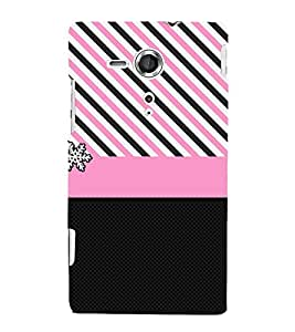 Pink Chevron Lines 3D Hard Polycarbonate Designer Back Case Cover for Sony Xperia SP :: Sony Xperia SP M35h