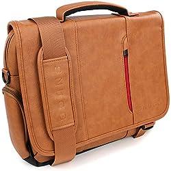 Maletín para Ordenador de Cuero de Snugg en Marrón para Portátiles, Notebooks de hasta 39,6 cm (15,6 pulgadas)