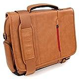 Sac Ordinateur, Snugg 17'' Sac Besace PC Sacoche Travail En Cuir Marron Pour Laptop Portable Et Tablette