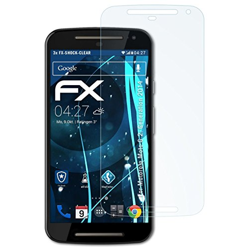 atFolix Schutzfolie kompatibel mit Motorola Moto G 2. Generation 2014 Panzerfolie, ultraklare & stoßdämpfende FX Folie (3X)