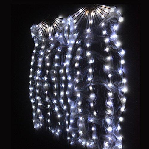 Seide LED-Ventilator Bauchtanz Mehrfarbig Glühend Tanzrequisiten Tanzwettbewerb Performance Paar, White, One Size (Weihnachten Urlaub Themen Kostüme)